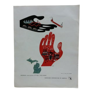 """1960s Vintage """"Michigan"""" Container Corporation of America Color Advertising Print For Sale"""
