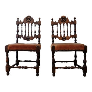 Antique Children's Chairs, Upholstered in Vintage Fabric - a Pair For Sale
