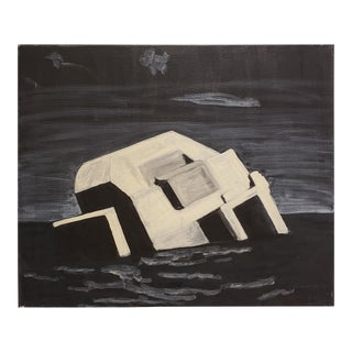 Contemporary Night Painting of Beach Bunker Ruin by Lionel Lamy For Sale