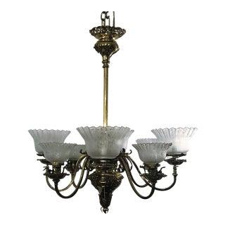 Antique Brass Victorian 8 Light Chandelier