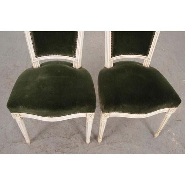 White French Vintage Louis XVI Painted Side Chairs - a Pair For Sale - Image 8 of 11