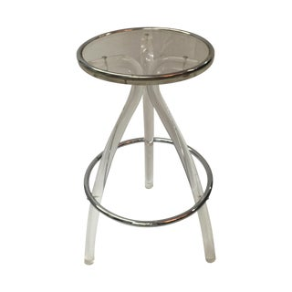 Lucite and Chrome Stool For Sale