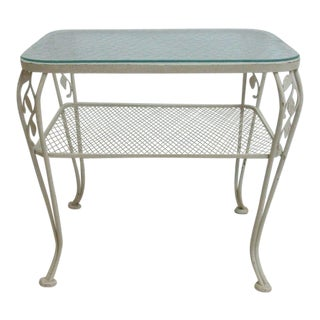 Mid-Century Outdoor Patio Iron Lamp End Table Woodard For Sale