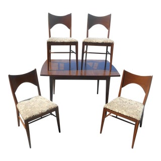 Mid-Century Modern Broyhill Saga Walnut Dining Set - Set of 5