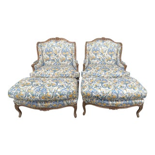 French Country Style Wingback Chairs and Ottomans - a Pair For Sale