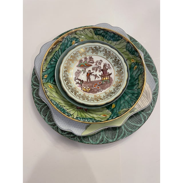 Green Asian Mixed Decorative Plates- a Set of 6 For Sale In New York - Image 6 of 8