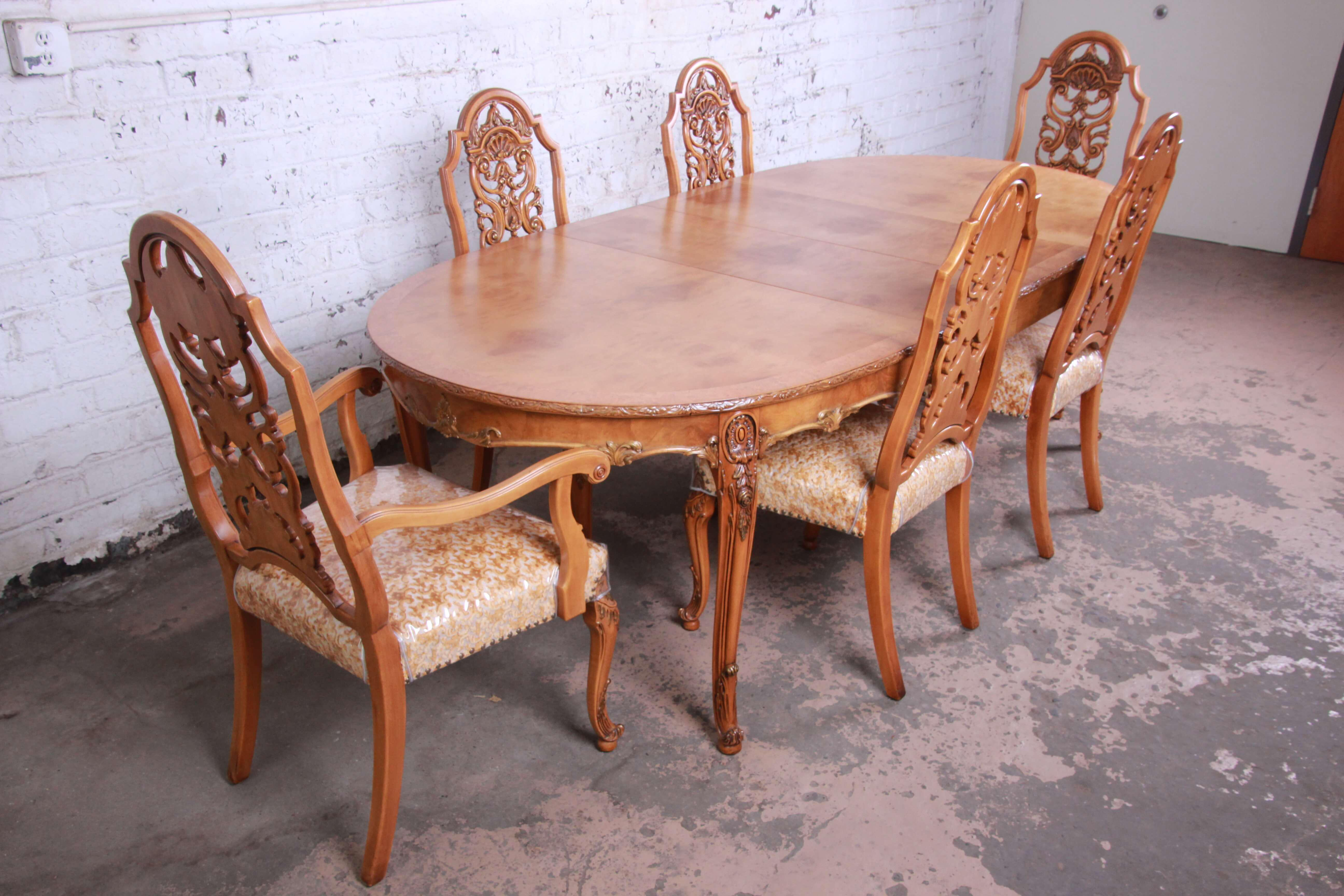 1960s Romweber Ornate Burl Wood French Carved Extension Dining Table U0026 Six  Chairs   Set Of 6