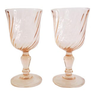 Vintage French Blush Pink Petit Wine Glasses Set of 2