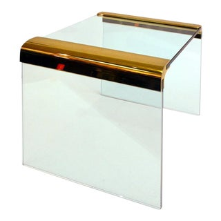 Leon Rosen for Pace Glass & Brass Curved Edge Table