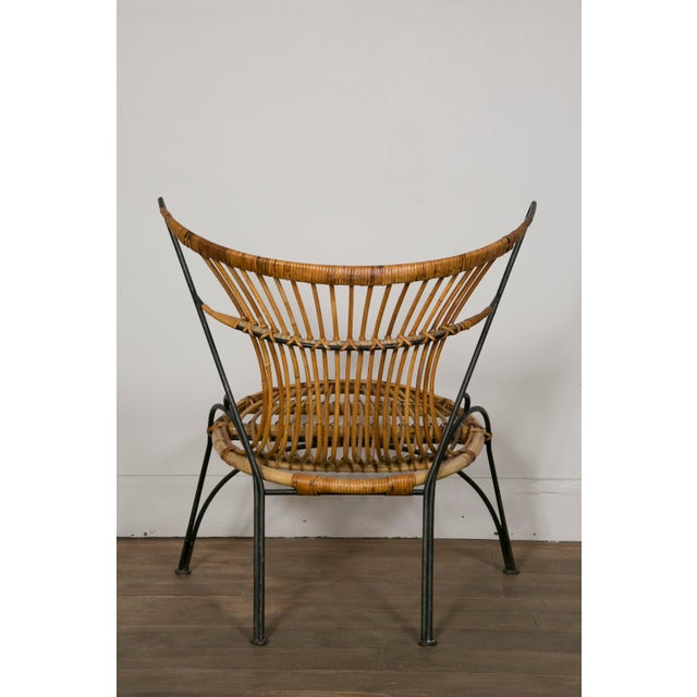 Tan Set of 3 Metal and Wicker Slipper Chairs For Sale - Image 8 of 11