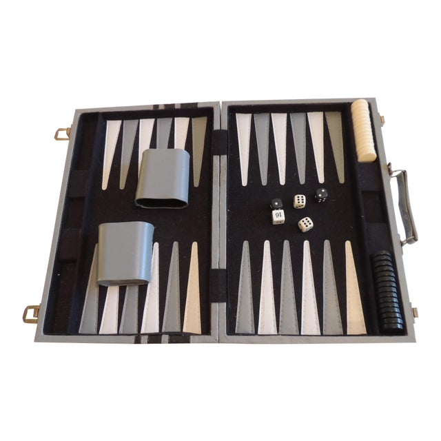 Vintage Grey and Black Backgammon Game Case For Sale