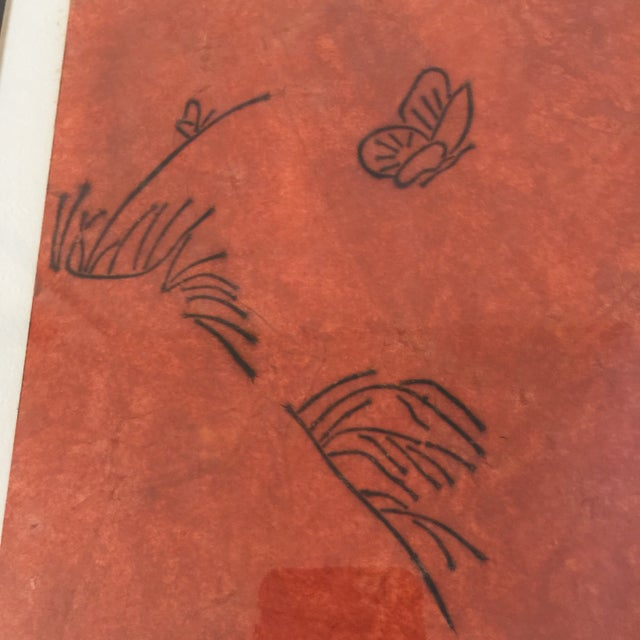"""Paper """"Butterfly"""" Orange & Red Serigraphs - A Pair For Sale - Image 7 of 11"""