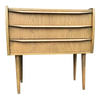 Three Drawer Oak Mid Century Danish Chest For Sale
