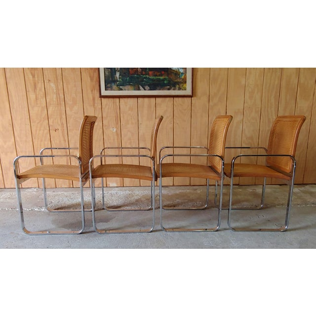 Milo Baughman Vintage Modern Berkey Flat Chrome and Cane Dining Chairs - Set of 4 For Sale - Image 4 of 13