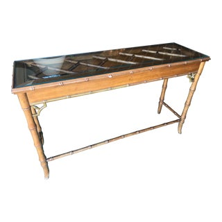 Vintage Faux Bamboo Fretwork Console Table For Sale