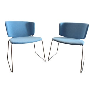 Coalesse by Steelcase Modern Wrapp Stackable Blue Guest Chairs - A Pair For Sale