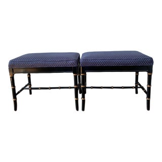 Late 20th Century Black Gilt Bamboo Style Wood Benches by Kindel - a Pair For Sale