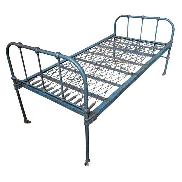 Iron Twin Bed With Original Blue Paint, 1930s For Sale - Image 9 of 10