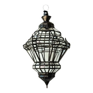Moorish Granada Moorish Glass and Metal Lantern For Sale