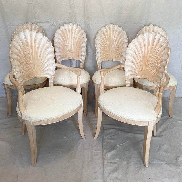 Vintage Carved Back Shell Chairs- Set of 6 For Sale - Image 13 of 13