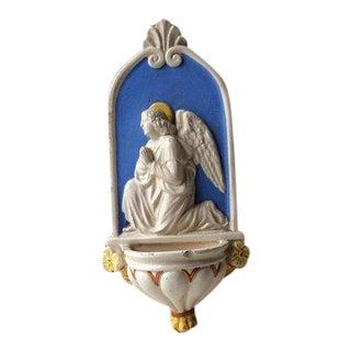 Antique Italian Pottery Holy Water Font Angel Cherub Sculpture