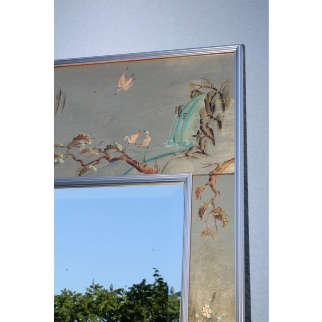 1970s La Barge Mid-Century Modern Hand Painted Chinoiserie Mirror For Sale - Image 5 of 11