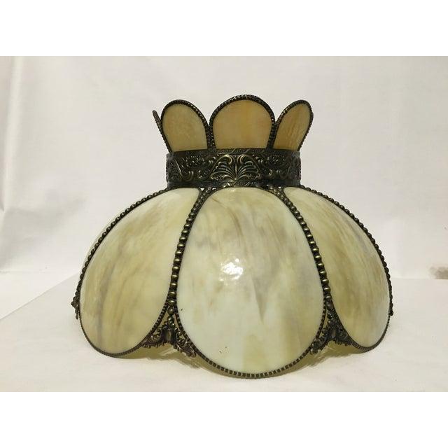 Cream & Tan Slag Glass Lamp Shade - Image 3 of 7