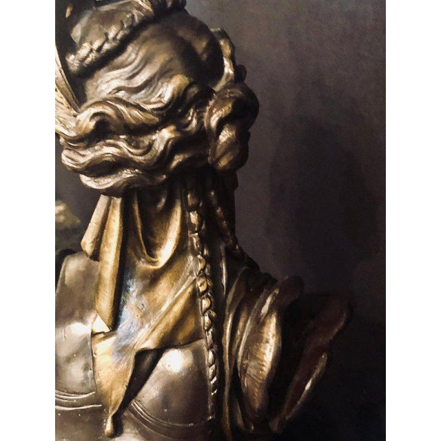Mid 19th Century Pair of 19th Century Louis XVI Palatial Figural Fireplace Chenet / Andirons For Sale - Image 5 of 13