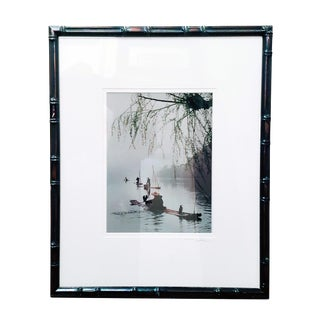 """""""Village Fisherman"""" Signed Matted and Framed Photographic Print in Ebonized Faux Bamboo For Sale"""