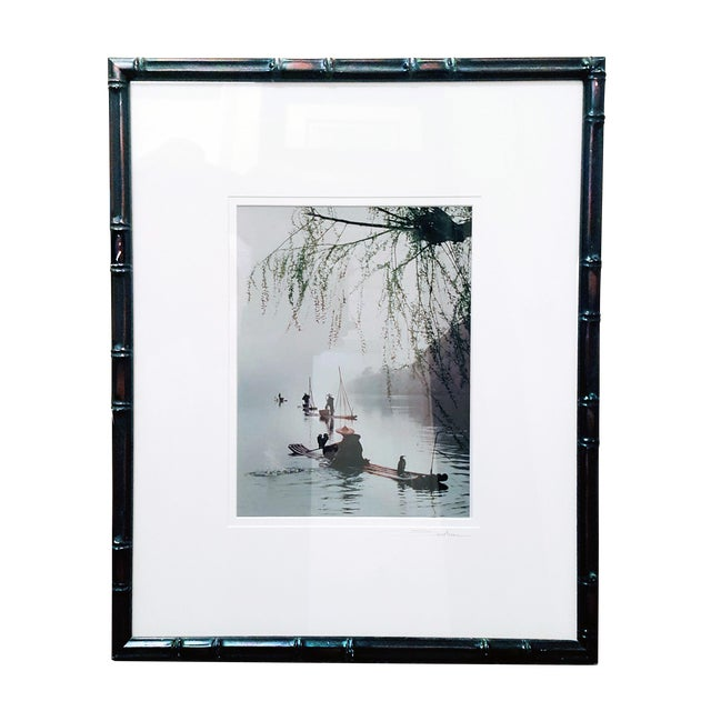 """Village Fisherman"" Signed Matted and Framed Photographic Print in Ebonized Faux Bamboo For Sale"