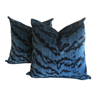 "Scalamandre ""Le Tigre"" Ocean Blue Pillows - a Pair For Sale"