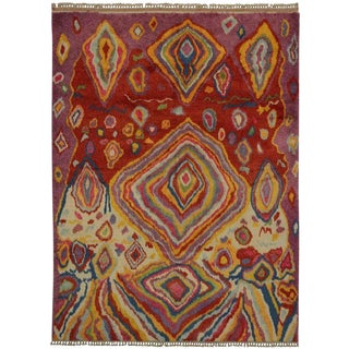 "20th Century Turkish Tulu Shag Rug With Abstract Style - 9'4"" X 12'4"""