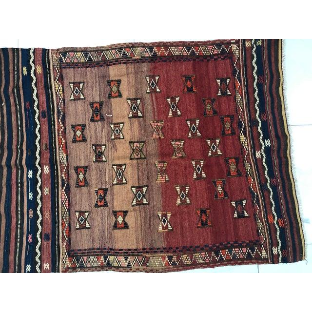 Turkish Handwoven Vintage Kilim Rug - 3′8″ × 4′10″ For Sale - Image 10 of 11