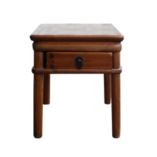 Chinese Handmade Vintage Finish Wood Stool Table W Drawer For Sale