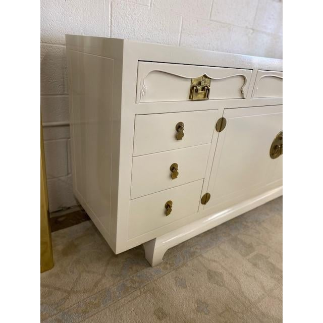 Antique White Henredon Chinoiserie Painted White Credenza For Sale - Image 8 of 10
