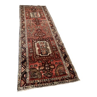 Hand-Knotted Persian Heriz Wool Rug - 3′3″ × 9′9″ For Sale