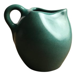 1930s Antique Muncie Pottery Green Pitcher For Sale