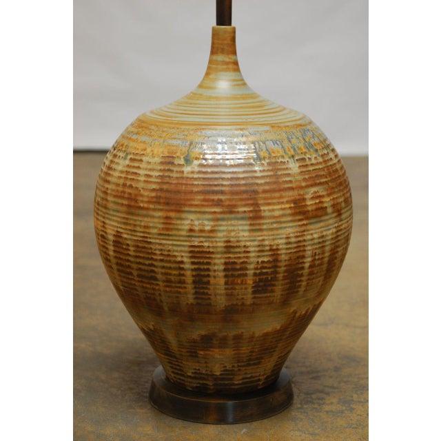 Mid-Century Drip Glaze Table Lamp - Image 2 of 5