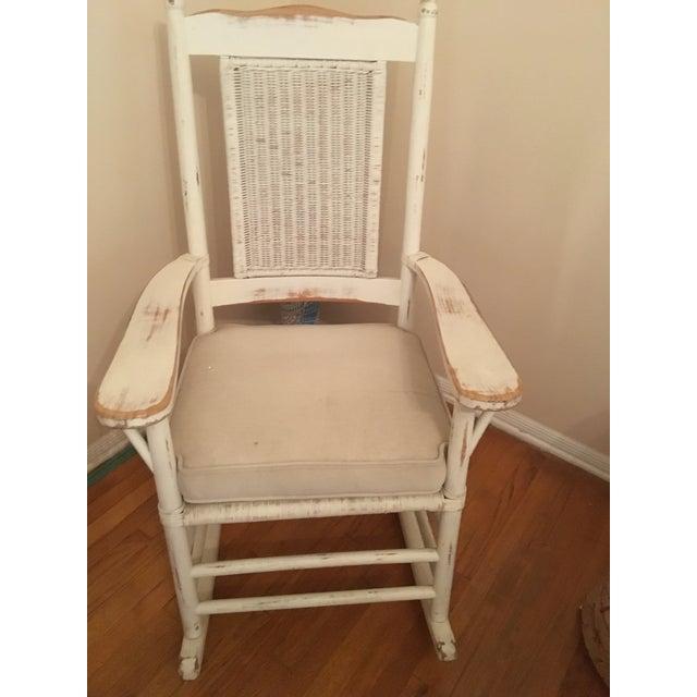 Palecek Palecek Distressed White Rocking Chair For Sale - Image 4 of 4