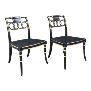 "1990s Baker Furniture Charleston Collection ""Governor Alston"" Regency Style Black Lacquered Side Chairs - a Pair For Sale"