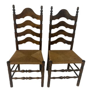 Vintage Rustic Farmhouse Walnut Ladderback Dining Accent Rush Seat Chairs- a Pair For Sale