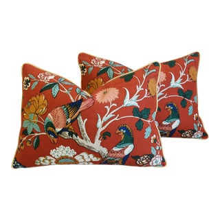 "Brunschwig & Fils Chinoiserie Feather/Down Pillows 26"" X 18"" - Pair"