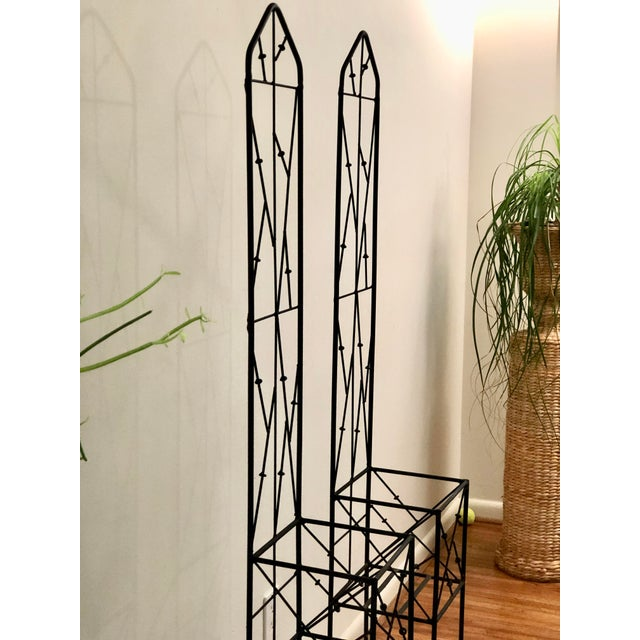 Late 20th Century Late 20th Century Iron Trellis Plant Stands - a Pair For Sale - Image 5 of 12