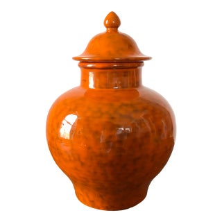 Mid Century Orange Italian Pottery Ginger Jar For Sale