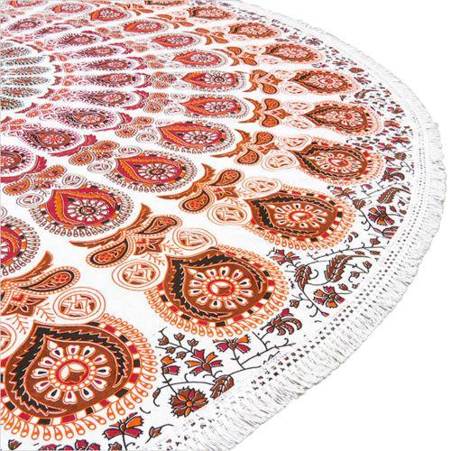 Boho Orange, Red & White Beach Blanket - Image 6 of 6