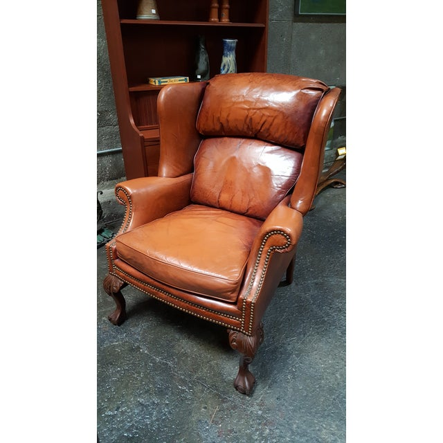 Brown Schafer Brothers Leather Wing Chairs - Pair For Sale - Image 8 of 10
