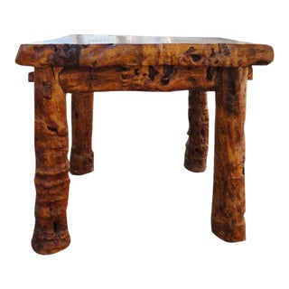 Early 19thc Rustic Burl &Log Plank Top Table For Sale