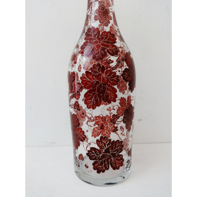 Boho Chic Vintage Bohemian Glass Decanter w/ Crystal Stopper For Sale - Image 3 of 6