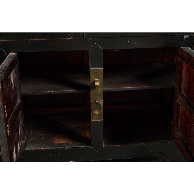 Mid 18th Century 18th C. Chinese Black Lacquer Elm Sideboard For Sale - Image 5 of 10