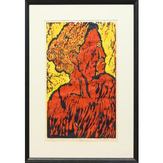 "Vintage Limited Edition Woodblock Print in Color Titled ""Old Woman"" For Sale"